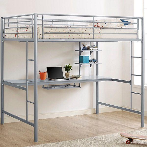 Full Size Silver Metal Loft Bed Workstation