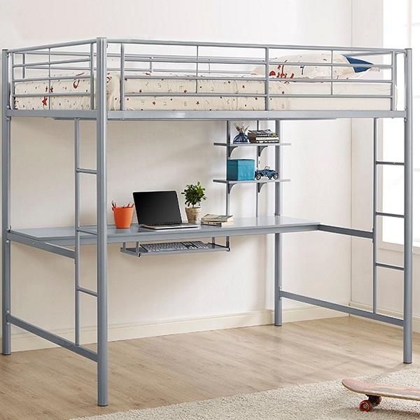 Full Size Silver Metal Loft Bed Workstation   Steel Study Loft with Desk