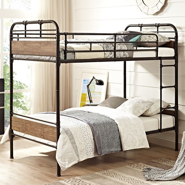 Urban Industrial Style Twin Size Metal Bunk Bed Black Finish