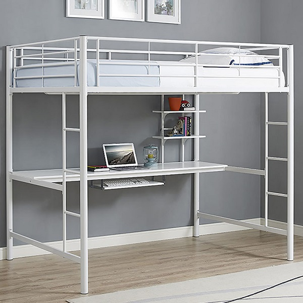 Full Size White Metal Loft Bed Workstation Steel Study