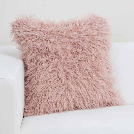 Rose Quartz Faux Fur Llama Pillow