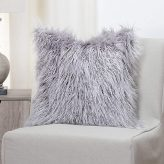 Faux Fur Llama Pillow in Silver