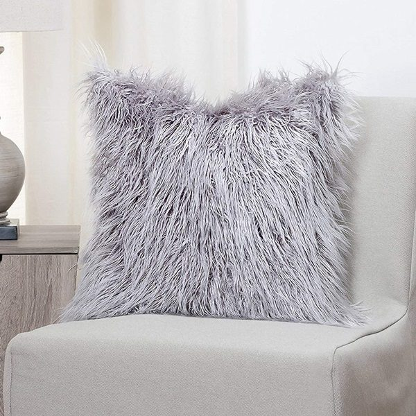 Faux Fur Llama Pillow in Silver