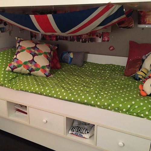 Chartreuse Polka Dot White Bunk Bed Hugger
