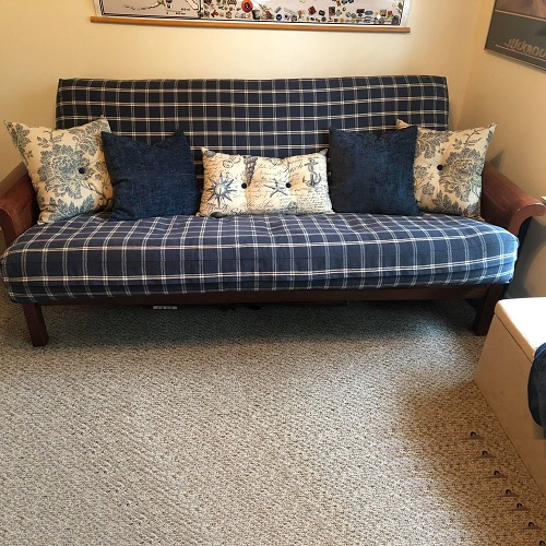 Tartan Indigo Zippered Futon Cover with Coordinating Pillows