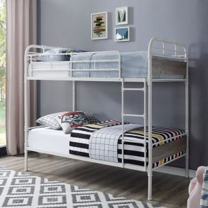 Urban Industrial Style Twin Size Metal Bunk Bed in White & Grey Wash