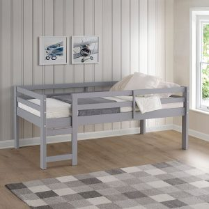 Solid Wood Low Loft Bed - Grey