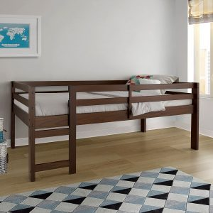 Solid Wood Low Loft Bed - Walnut