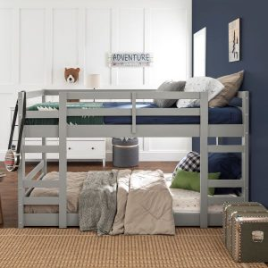 Twin over Twin Junior Low Wood Bunk Bed Grey Finish