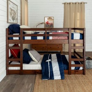 Twin over Twin Junior Low Wood Bunk Bed Walnut Finish