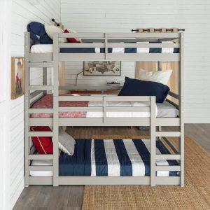 Solid Wood Triple Bunk Bed Grey