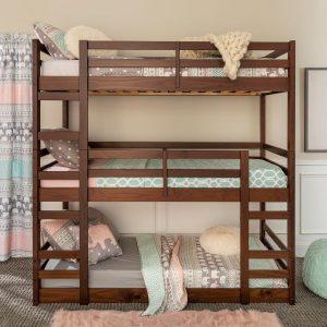 Solid Wood Triple Bunk Bed Walnut (2)