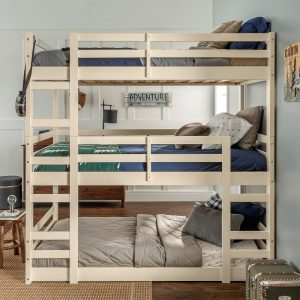 Solid Wood Triple Bunk Bed White (2)