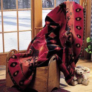Red Running Horses Throw Blanket