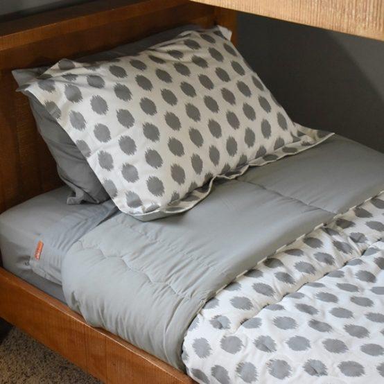 Grey Kids Zip Sheets with Chipper Hugger Comforter